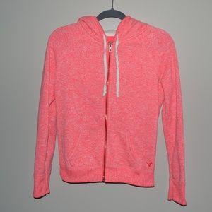 Bright Pink American Eagle Furry Hoodie/Jacket